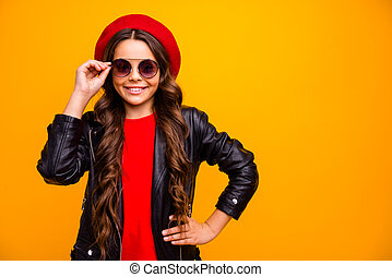 Close-up portrait of her she nice attractive charming lovely pretty fashionista cheerful cheery long-haired girl posing touching specs isolated over bright vivid shine vibrant yellow color background