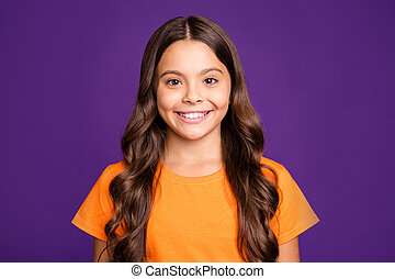 Close-up portrait of her she nice attractive charming lovely winsome cute cheerful cheery wavy-haired girl isolated over bright vivid shine vibrant lilac purple color violet background