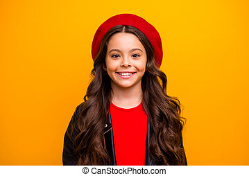 Close-up portrait of her she nice attractive charming trendy fashionable long-haired girl isolated over bright vivid shine vibrant yellow color background