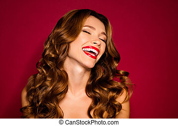 Close-up portrait of her she nice attractive cheerful cheery dreamy wavy-haired girl enjoying pleasure lifting isolated on bright vivid shine vibrant red maroon burgundy marsala color background
