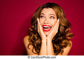 Close-up portrait of her she nice attractive crazy cheerful cheery glad wavy-haired girl expressing positive emotion isolated on bright vivid shine vibrant red maroon burgundy marsala color background