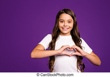 Close-up portrait of her she nice attractive lovely cheerful cheery wavy-haired girl showing heart symbol isolated on bright vivid shine vibrant purple violet lilac color background