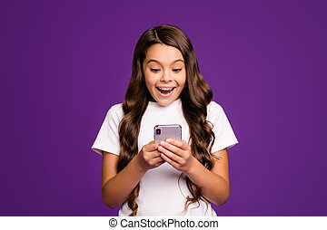 Close-up portrait of her she nice attractive lovely cute amazed cheerful cheery wavy-haired girl using device 5g app service isolated on bright vivid shine vibrant purple violet lilac color background