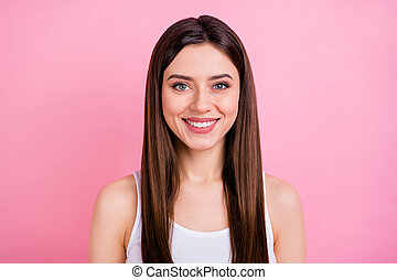 Close-up portrait of her she nice attractive lovely lovable winsome pretty charming cheerful cheery straight-haired girl isolated over pink pastel color background