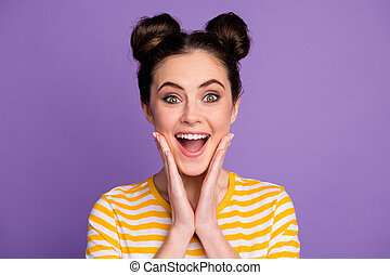 Close-up portrait of her she nice attractive pretty lovely cute cheerful cheery amazed glad brown-girl good news reaction isolated on bright vivid shine vibrant lilac violet purple color background
