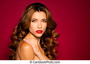 Close-up portrait of her she nice attractive stunning wavy-haired girl touching pure silky clean clear skin isolated on bright vivid shine vibrant red maroon burgundy marsala color background