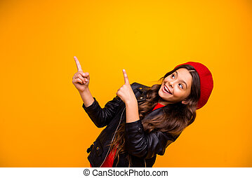 Close-up portrait of her she nice attractive trendy cheerful cheery brunette long-haired girl pointing up recommend decision solution isolated over bright vivid shine vibrant yellow color background