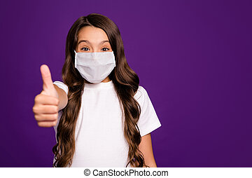 Close-up portrait of her she nice happy small little brunette wavy-haired girl giving thumbup success preventive measures isolated over bright vivid shine vibrant purple violet lilac color background