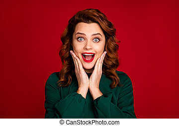 Close-up portrait of her she nice-looking attractive amazed cheerful cheery overjoyed wavy-haired girl gift reaction isolated on bright vivid shine vibrant red maroon burgundy marsala color background