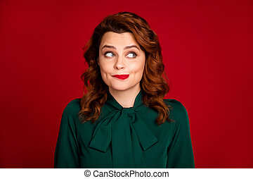 Close-up portrait of her she nice-looking attractive cute pretty cheerful wavy-haired girl thinking guessing idea isolated on bright vivid shine vibrant red maroon burgundy marsala color background