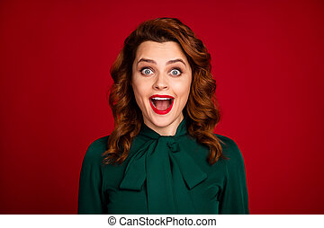 Close-up portrait of her she nice-looking attractive lovable overjoyed cheerful cheery wavy-haired girl great luck isolated over bright vivid shine vibrant red maroon burgundy marsala color background
