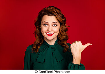 Close-up portrait of her she nice-looking attractive lovely cheerful cheery wavy-haired girl showing choose choice isolated on bright vivid shine vibrant red maroon burgundy marsala color background