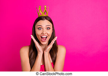 Close-up portrait of her she nice-looking attractive lovely lovable cheerful amazed long-haired girl expressing delight great news isolated on bright vivid shine vibrant pink fuchsia color background