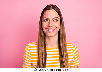 Close-up portrait of her she nice-looking attractive lovely pretty curious minded cheerful cheery straight-haired girl overthinking isolated over pink pastel color background