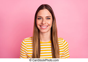 Close-up portrait of her she nice-looking attractive lovely pretty winsome cute cheerful cheery content straight-haired girl isolated over pink pastel color background