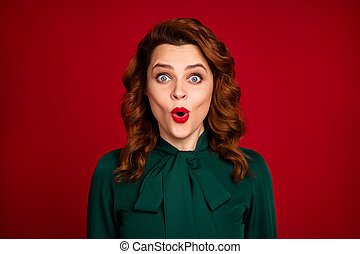 Close-up portrait of her she nice-looking attractive pretty amazed cheerful wavy-haired girl news reaction isolated over bright vivid shine vibrant red maroon burgundy marsala color background