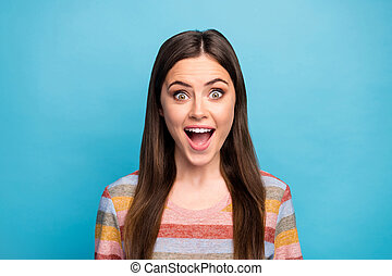 Close-up portrait of her she nice-looking feminine lovely pretty cute cheerful cheery girl great news reaction isolated over bright vivid shine vibrant blue color background