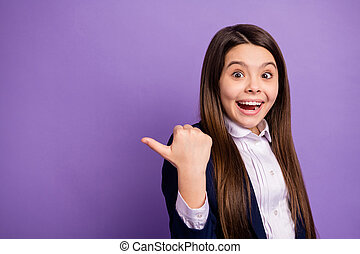 Close-up portrait of her she nice small little glad cheerful cheery amazed long-haired girl demonstrating copy space advice great news isolated bright vivid shine vibrant lilac violet color background