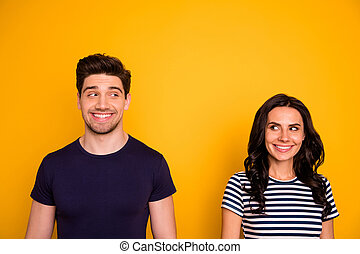 Close-up portrait of his he her she nice attractive lovely winsome charming, cute shy modest cheerful cheery people 1st meeting speed dating service isolated over bright vivid shine yellow background