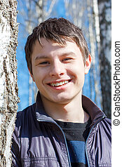 Close-up portrait of laughing teen - close-up portrait of ...