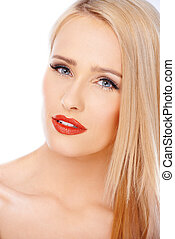 Close up portrait of natural blond woman with red lipstick