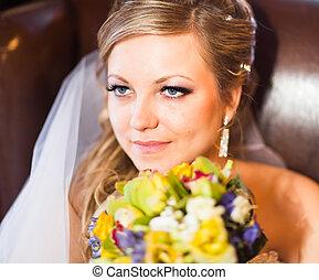 Close up portrait of pretty bride