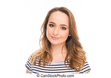 Close up portrait of pretty smiling young woman on white background