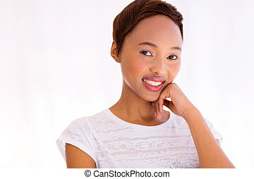 young african woman indoors
