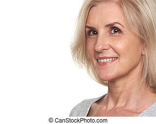 close up portrait of senior woman
