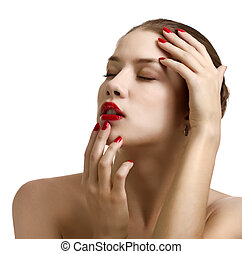 Close-up portrait of sensual caucasian young woman with red bright manicure