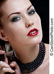 Close-up portrait of sexy caucasian