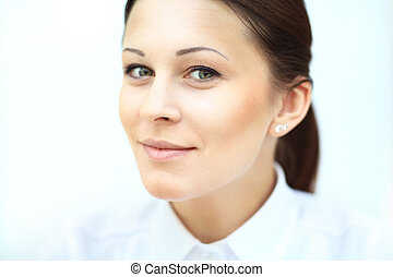 Close up portrait of smiling business woman