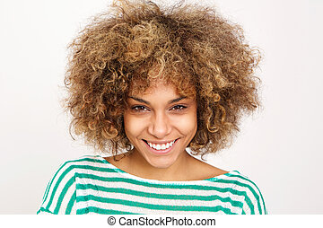 smiling young african woman against white background
