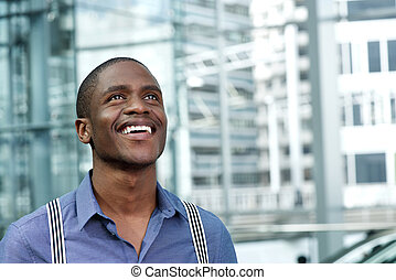 smiling young black businessman