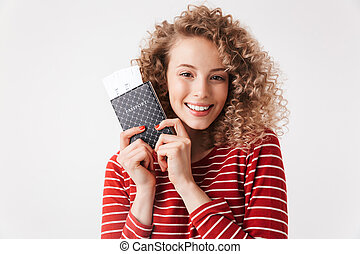 Close up portrait of smiling young girl with curly hair