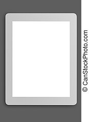 tablet with blank screen on grey background