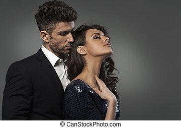 Close-up portrait of the elegant couple