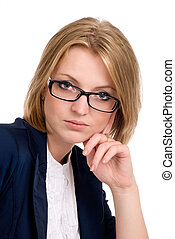 Close-up portrait of thoughtful business woman.