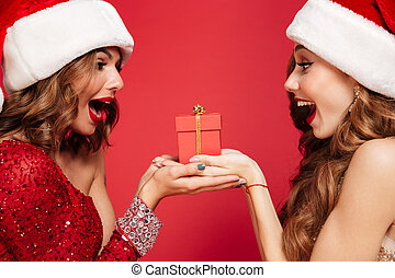 Close up portrait of two excited women in christmas hats