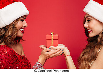 Close up portrait of two happy women in christmas hats