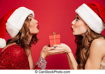 Close up portrait of two pretty women in christmas hats