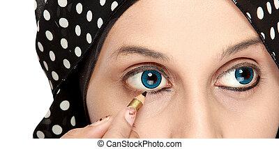 close up portrait of Woman Applying Eyeliner