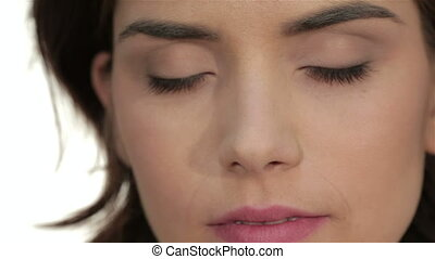 Close-up portrait of woman eye with perfect health skin of face