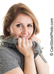 Close up portrait of woman in warm