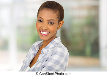 young african american woman at home