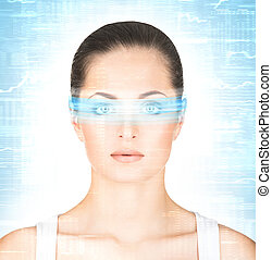 Close-up portrait of young and beautiful woman with the virtual hologram on her eyes (laser medicine and security technology concept)