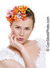 close up portrait of young beautiful woman over white