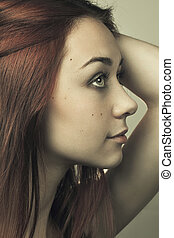 close-up portrait of young beautiful woman