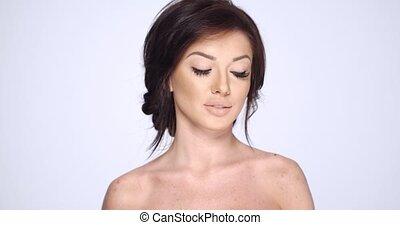 Close Up Portrait of Young Brunette Woman