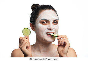 young girl with face mask